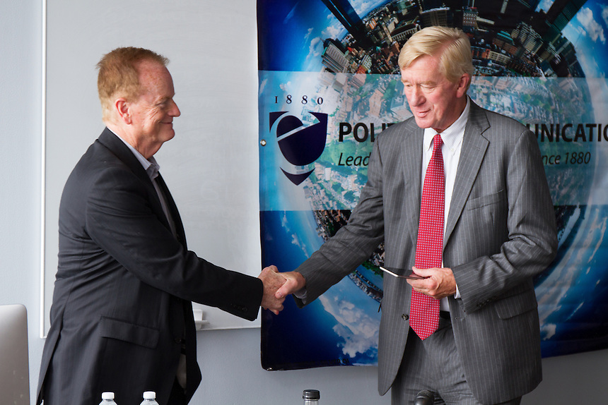 Greg Payne shakes the hand of Bill Weld, Libertarian candidate for VP and former MA governor, who spoke with students and the media about his candidacy.