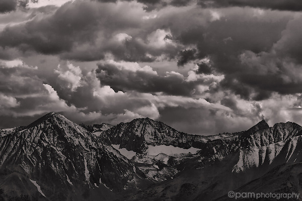 Black and white sunset over the Sierras