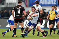 James Phillips of Bath Rugby is tackled by Dominic Day of Saracens. Aviva Premiership match, between Saracens and Bath Rugby on April 15, 2018 at Allianz Park in London, England. Photo by: Patrick Khachfe / Onside Images