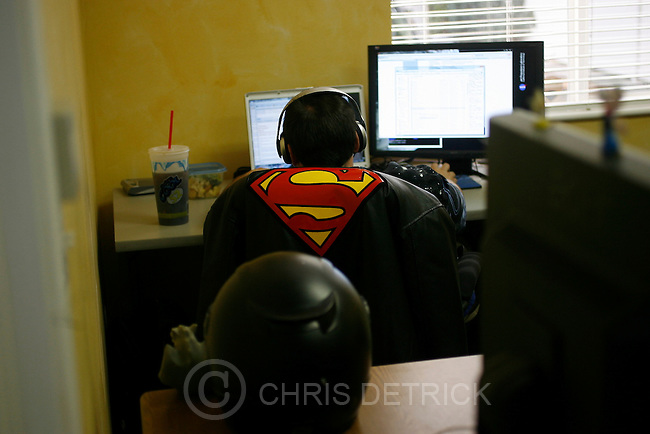 "Vice President of Operations and Superman fan Jason Bellows works at the Screen-Scraper office in Provo, Utah Thursday October 7, 2010.  Screen-Scraper specializes in extracting data on the internet and has business since 2002..CREDIT: Chris Detrick for The Wall Street Journal.""WTKSCRAPE"""