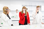 © Joel Goodman - 07973 332324 . 26/09/2016 . Liverpool , UK . Shadow Education Minister ANGELA RAYNOR takes a DNA swab along with students studying biology , in a new science lab at Liverpool City College , at a visit during the second day of the Labour Party Conference in Liverpool . Photo credit : Joel Goodman