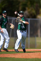 Dartmouth Big Green third baseman Justin Fowler (25) throws to first base during a game against the Eastern Michigan Eagles on February 25, 2017 at North Charlotte Regional Park in Port Charlotte, Florida.  Dartmouth defeated Eastern Michigan 8-4.  (Mike Janes/Four Seam Images)