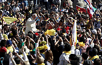 Pope Francis waves to faithful as he arrives for an audience to the Vincentian family on the 400th centenary of the Vincentian Charism in St. Peter's Square at the Vatican, on October 14, 2017.<br />