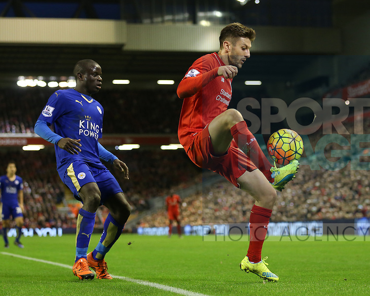 Liverpool's Adam Lallana tussles with Leicester's N'Golo Kante<br /> <br /> Barclays Premier League- Liverpool vs Leicester City - Anfield - England - 26th December 2015 - Picture David Klein/Sportimage