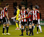Ched Evans of Sheffield Utd and John Fleck of Sheffield Utd  during the Carabao Cup First Round match at Bramall Lane Stadium, Sheffield. Picture date: August 9th 2017. Pic credit should read: Simon Bellis/Sportimage