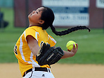 Watchung Hills at Hillsborough softball in the Somerset County Tournament semifinals held at Hillborough High School on Wednesday May 18, 2016.<br /> Watchung Hill's # 40 pitcher Robin McCabe on the mound.