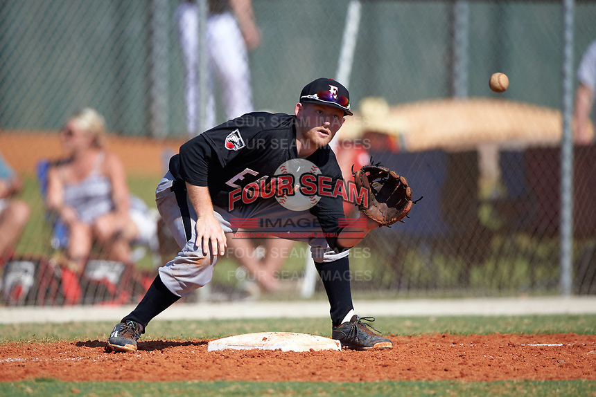 Edgewood Eagles Brodie Engel (3) during the first game of a doubleheader against the Plymouth State Panthers on April 17, 2016 at Lee County Player Development Complex in Fort Myers, Florida.  Plymouth State defeated Edgewood 6-5.  (Mike Janes/Four Seam Images)