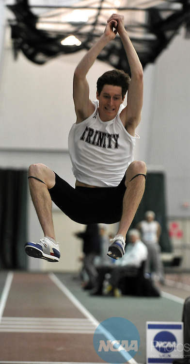 12 MAR 2010: Todd Wildman, a senior from Trinity University (Texas), won the men's pentathlon event with 3751 points during the Division III Men's and Women's Indoor Track and Field Championships held at the James A. Hollensteiner Track Center on the DePauw University campus in Greencastle, IN. Wildman, from Dallas, TX, is the South/Southeast Region Field Athlete of the Year..Marilyn Culler/NCAA Photos