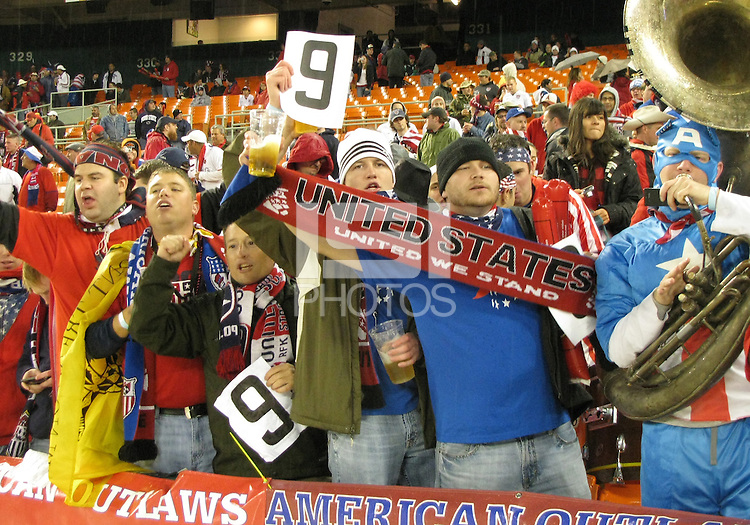 Fans of the USA hold up signs in support of Charlie Davies #9 during a 2010 World Cup qualifying match in the CONCACAF region against Costa Rica at RFK Stadium on October 14 2009, in Washington D.C.The match ended in a 2-2 tie.
