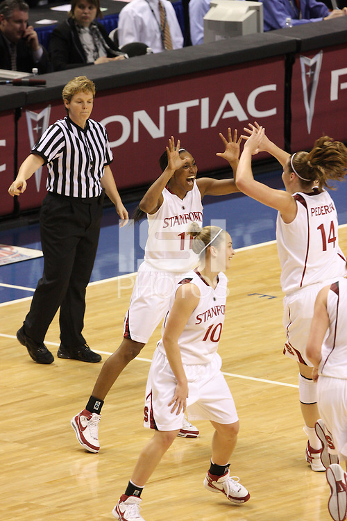 10 March 2008: Stanford Cardinal Candice Wiggins and Kayla Pedersen during Stanford's 56-35 win against the California Golden Bears in the 2008 State Farm Pac-10 Women's Basketball championship game at HP Pavilion in San Jose, CA.