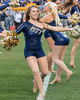 A member of the Pitt Dance Team performs. The Georgia Tech Yellow Jackets defeated the Pitt Panthers 56-28 at Heinz Field, Pittsburgh Pennsylvania on October 25, 2014.