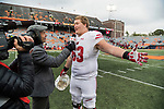 Wisconsin Badgers offensive lineman Michael Dieter (63) talks to a reporter after an NCAA College Big Ten Conference football game against the Illinois Fighting Illini Saturday, October 28, 2017, in Champaign, Illinois. The Badgers won 24-10. (Photo by David Stluka)