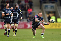 Josh Charnley of Sale Sharks passes the ball. Aviva Premiership match, between Sale Sharks and Bath Rugby on May 6, 2017 at the AJ Bell Stadium in Manchester, England. Photo by: Patrick Khachfe / Onside Images