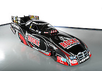 Dec. 5, 2012; Brownsburg, IN, USA; The car of NHRA funny car driver Matt Hagan during a photo shoot at the Don Schumacher Racing shop.  Mandatory Credit: Mark J. Rebilas-