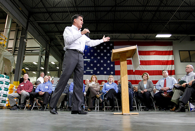 Mitt Romney speaks during a town hall meeting to discuss jobs and the economy at Diamond V, an animal nutrition company in Cedar Rapids, Iowa on Friday, December 9, 2011. (Christopher Gannon/MCT)
