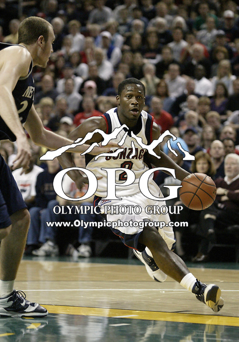 """30 December 2005:  Gonzaga Bulldogs #2 Jeremy Pargo drives to the basket against the Nevada Wolf Pack at Key Arena in the fourth annual """"Battle of Seattle"""" Seattle, WA. Nevada won 82-74 over the Gonzaga Bulldogs."""
