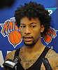 Trey Burke of the New York Knicks speaks with the media after practice at Madison Square Garden Training Center in Greenburgh, NY on Friday, Sept. 28, 2018.