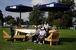 Australian riders talking to the Celebrity Talk Area team during a Cross Country course walk at the 2014 Land Rover Burghley Horse Trials held at Burghley House, Stamford, Lincolnshire