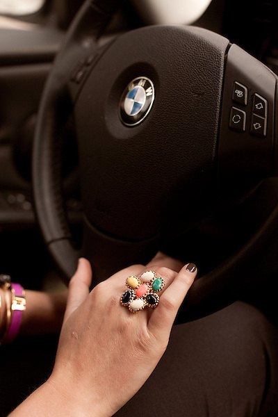 November 27, 2012. Charleston, South Carolina.. Alexa Wyatt drives her BMW to downtown Charleston for a meeting with another wedding planner.. Alexa Wyatt, 23, is an Event Coordinator with Southern Protocol, a boutique wedding and event planning company in Charleston, SC..