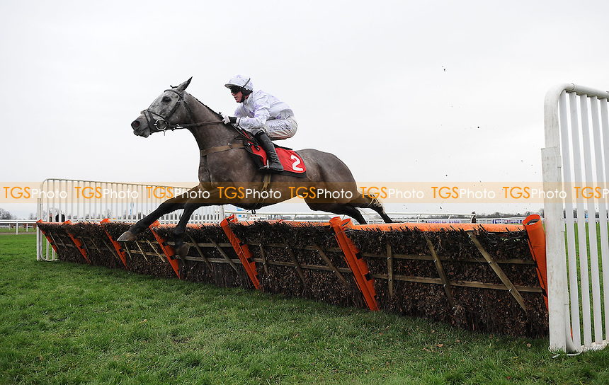 Cloudy Copper ridden by Richie McLernon jumps the last flight in the lead and wins the williamhill.com Novices´ Hurdle Cl3  - Horse Racing at Kempton Park Racecourse - 12/01/2013 - MANDATORY CREDIT: Martin Dalton/TGSPHOTO - Self billing applies where appropriate - 0845 094 6026 - contact@tgsphoto.co.uk - NO UNPAID USE.