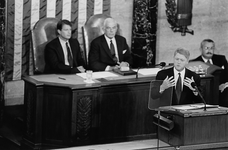 President Bill Clinton speaking on health care at joint session of Congress. September 21, 1993 (Photo by Chris Martin/CQ Roll Call)