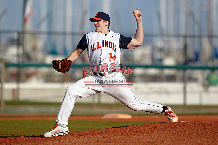 Illinois Fighting Illini pitcher Rob McDonnell #14 delivers a pitch during a game against the Louisville Cardinals at the Big Ten/Big East Challenge at Al Lang Stadium on February 18, 2012 in St. Petersburg, Florida.  (Mike Janes/Four Seam Images)