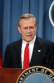 Washington, DC - March 20, 2003 -- U.S. Secretary of Defense Donald Rumsfeld and Chairman of the Joint Chiefs of Staff Richard Myers brief reporters at the Pentagon in Washington, DC on March 20, 2003.<br /> Credit: Ron Sachs / CNP<br /> (RESTRICTION: NO New York or New Jersey Newspapers or newspapers within a 75 mile radius of any part of New York, New York, including without limitation the New York Daily<br /> News, The New York Times, and Newsday.)