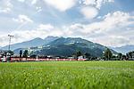 05.07.2019, Parkstadion, Zell am Ziller, AUT, TL Werder Bremen Zell am Ziller / Zillertal Tag 01<br /> <br /> im Bild<br /> Blick vom Trainingsplatz auf Berge / Umgebung, Feature, <br /> <br /> Foto © nordphoto / Ewert