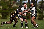 Connor Talaimanu has support from Filipo Tautu as he wrapped up by T. Niha. Counties Manukau Premier Club Rugby game between Bombay & Manurewa played at Bombay on Saturday June 14th 2008..Bombay won 19 - 12 after leading 12 - 0 at halftime.