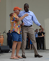 WEST PALM BEACH FL - NOVEMBER 3: Sen. Bill Nelson, Jimmy Buffett and Democratic Florida gubernatorial nominee Andrew Gillum during the Bring It Home campaign rally at Meyer Amphitheater on November 3, 2018 in West Palm Beach, Florida. <br /> CAP/MPI04<br /> &copy;MPI04/Capital Pictures