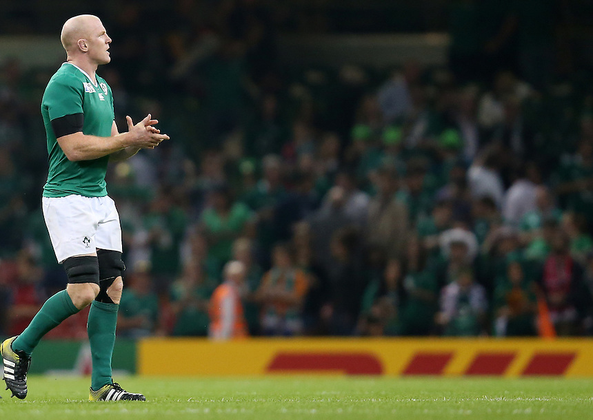Ireland's Paul O'Connell (c) thanks the travelling Ireland fans<br /> <br /> Photographer Ian Cook/CameraSport<br /> <br /> Rugby Union - 2015 Rugby World Cup - Canada v Ireland - Saturday 19th September 2015 - Millennium Stadium - Cardiff<br /> <br /> &copy; CameraSport - 43 Linden Ave. Countesthorpe. Leicester. England. LE8 5PG - Tel: +44 (0) 116 277 4147 - admin@camerasport.com - www.camerasport.com