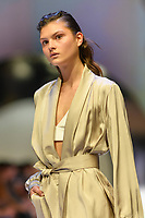 MELBOURNE - September 5, 2019: A model wearing Viktoria & Woods walks at the Town Hall Closing Runway show during Melbourne Fashion Week in Melbourne, Australia. Photo Sydney Low