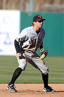 Rochester Red Wings shortstop Brian Dozier #4 during the opening game of the International League season against the Rochester Red Wings at Alliance Bank Stadium on April 5, 2012 in Syracuse, New York.  Rochester defeated Syracuse 7-4.  (Mike Janes/Four Seam Images)