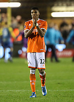 Blackpool's Michael Nottingham applauds his side's travelling fans at the end of the match<br /> <br /> <br /> Photographer Andrew Kearns/CameraSport<br /> <br /> The Emirates FA Cup Second Round - Solihull Moors v Blackpool - Friday 30th November 2018 - Damson Park - Solihull<br />  <br /> World Copyright © 2018 CameraSport. All rights reserved. 43 Linden Ave. Countesthorpe. Leicester. England. LE8 5PG - Tel: +44 (0) 116 277 4147 - admin@camerasport.com - www.camerasport.com