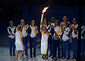 Vanderlei de Lima, AUGUST 5, 2016 : Vanderlei de Lima carries the Olympic torch during the Rio 2016 Olympic Games Opening Ceremony at Maracana in Rio de Janeiro, Brazil. (Photo by Enrico Calderoni/AFLO SPORT)