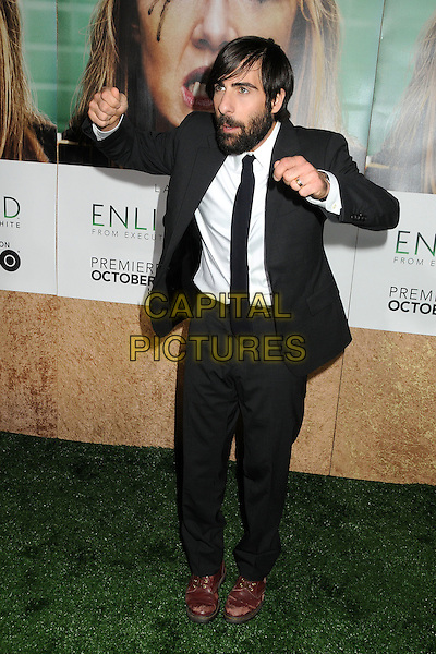 "Jason Schwartzman.HBO's ""Enlightened"" Los Angeles Premiere held at Paramount Studios, Los Angeles, California, USA. .October 6th, 2011.full length black white suit tie brown shoe hands arms gesture beard facial hair funny .CAP/ADM/BP.©Byron Purvis/AdMedia/Capital Pictures."