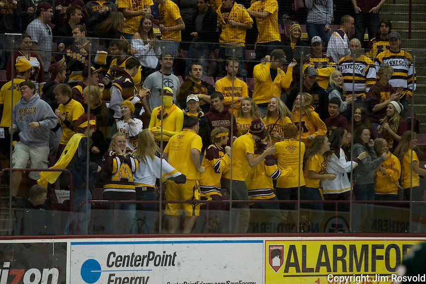 21 Oct 11: Minnesota student fans. The University of Minnesota Golden Gophers host the University of Vermont Catamounts in a non-conference matchup at Mariucci Arena in Minneapolis, MN.