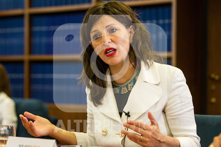 Yolanda Diaz of Unidos Podemos during the debate on agreements with representatives of the four major political forces at the headquarters of the newspaper La Razon . 19,06,2016. (ALTERPHOTOS/Rodrigo Jimenez)