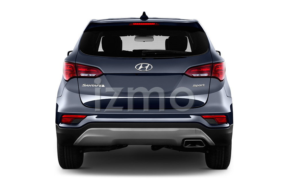 Straight rear view of a 2018 Hyundai Santa Fe Sport Base 5 Door SUV stock images