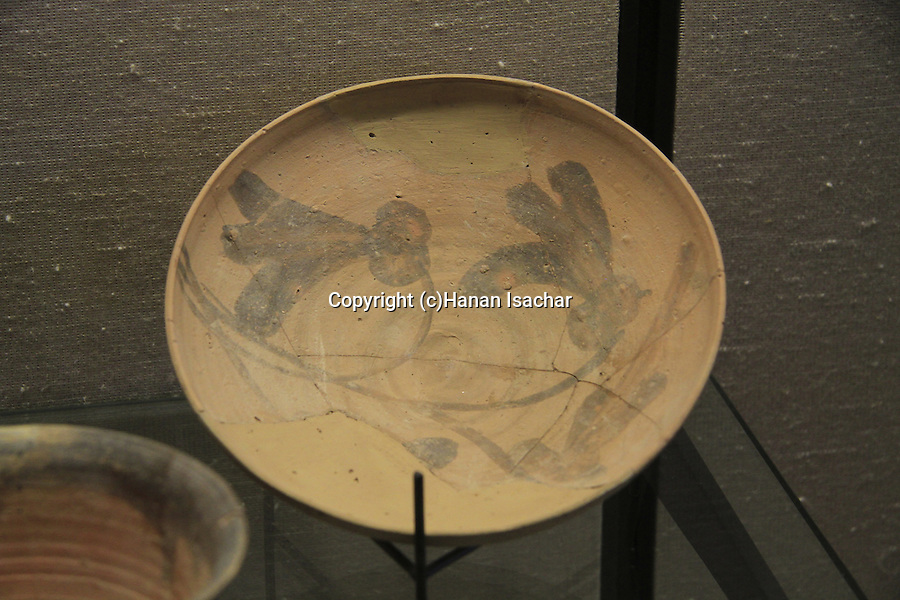 A painted clay bowl, 1st century BC, found at the Temple Mount excavations, Jerusalem, on display at the Hecht Museum, the University of Haifa