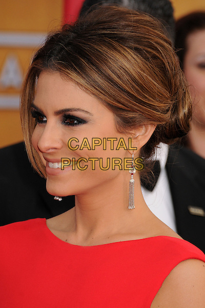 Maria Menounos.Arrivals at the 19th Annual Screen Actors Guild Awards at the Shrine Auditorium in Los Angeles, California, USA..27th January 2013.SAG SAGs headshot portrait sleeveless eyeliner make-up smokey eyes beauty red profile .CAP/ADM/BP.©Byron Purvis/AdMedia/Capital Pictures