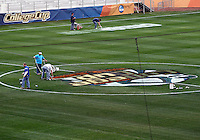 HOOVER, AL - DECEMBER 08, 2012:  Workers prepare the field before the NCAA 2012 Men's College Cup final , at Regions Park, in Hoover , AL, on Friday, December 07, 2012.