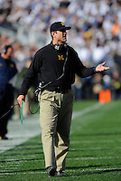 21 November 2015:  Michigan head coach Jim Harbaugh. The Michigan Wolverines defeated the Penn State Nittany Lions 28-16 at Beaver Stadium in State College, PA. (Photo by Randy Litzinger/Icon Sportswire)