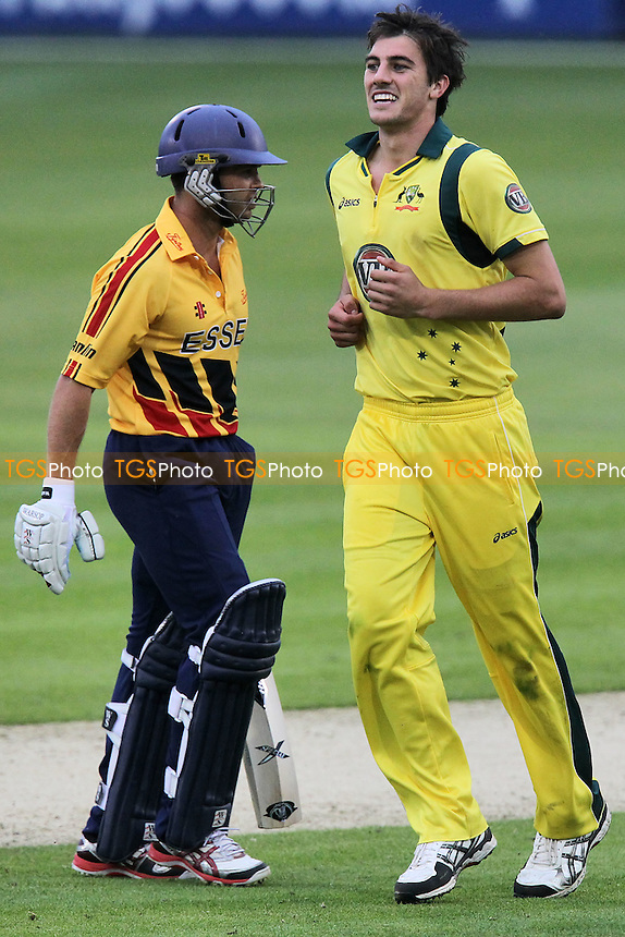Greg Smith of Essex is bowled out by Patrick Cummins - Essex Eagles vs Australia - Tourist Match Cricket at the Ford County Ground, Chelmsford, Essex - 26/06/12 - MANDATORY CREDIT: Gavin Ellis/TGSPHOTO - Self billing applies where appropriate - 0845 094 6026 - contact@tgsphoto.co.uk - NO UNPAID USE.
