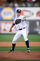 Mississippi Braves pitcher Jason Hursh (8) delivers a pitch during a game against the Pensacola Blue Wahoos on May 27, 2015 at Trustmark Park in Pearl, Mississippi.  Pensacola defeated Mississippi 7-5 in fourteen innings.  (Mike Janes/Four Seam Images)