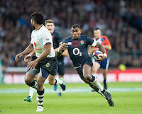 Twickenham, United Kingdom.  Englands, Semesa ROKODUGUNI, turns the defence, during the Old Mutual Wealth Series Rest Match: England vs Fiji, at the RFU Stadium, Twickenham, England, Saturday  19/11/2016<br />
