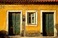 Weathered looking building in Vieira de Leiria, a fisher village on the Atlantic coast of Portugal.