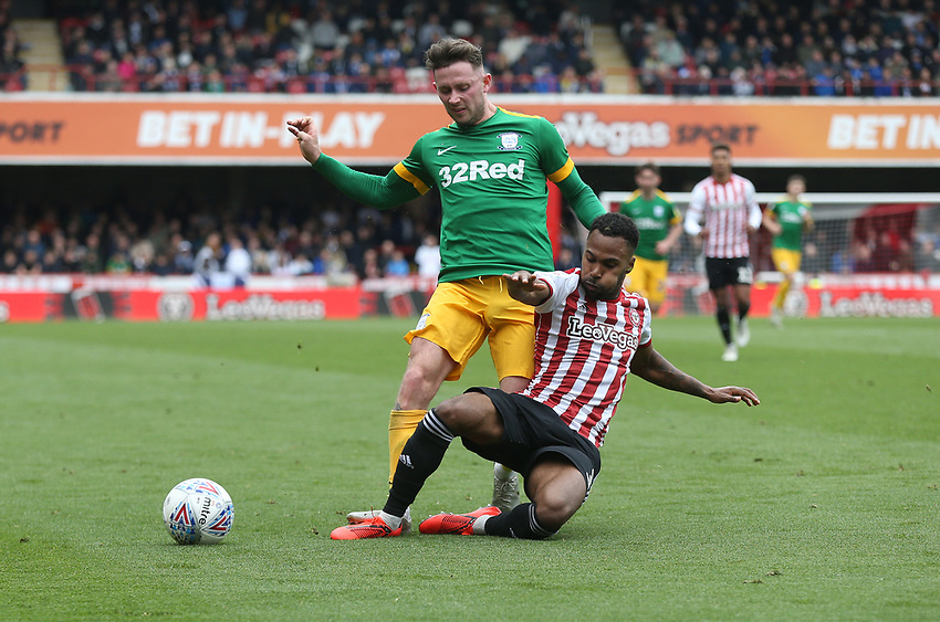 Preston North End's Alan Browne and Brentford's Rico Henry<br /> <br /> Photographer Rob Newell/CameraSport<br /> <br /> The EFL Sky Bet Championship - Brentford v Preston North End - Sunday 5th May 2019 - Griffin Park - Brentford<br /> <br /> World Copyright © 2019 CameraSport. All rights reserved. 43 Linden Ave. Countesthorpe. Leicester. England. LE8 5PG - Tel: +44 (0) 116 277 4147 - admin@camerasport.com - www.camerasport.com