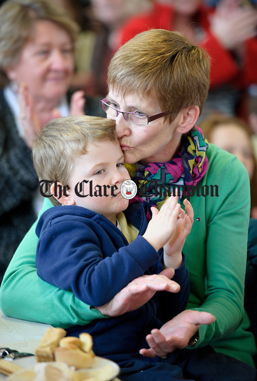 Oisin Collins with his grand mother Jo Mc Grath during Grandparents day at Feakle National School. Photograph by John Kelly.