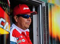 Jun. 29, 2012; Joliet, IL, USA: NHRA funny car driver Cruz Pedregon during qualifying for the Route 66 Nationals at Route 66 Raceway. Mandatory Credit: Mark J. Rebilas-